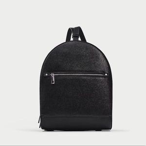 Zara Black Faux Leather Backpack